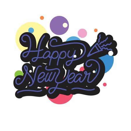 Happy New Year stickers. A sticker with a design that says happy new year. New year stickers with trumpet ornament. design new year stickers with monoline style Çizim