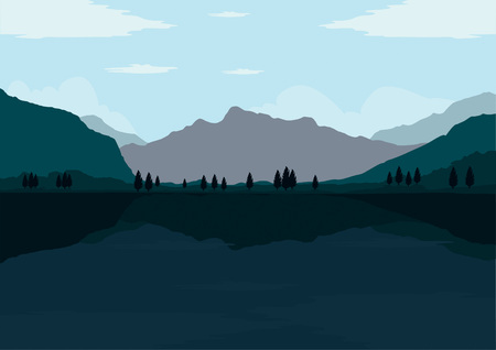 Flat design landscape of mountain, forest and lake views