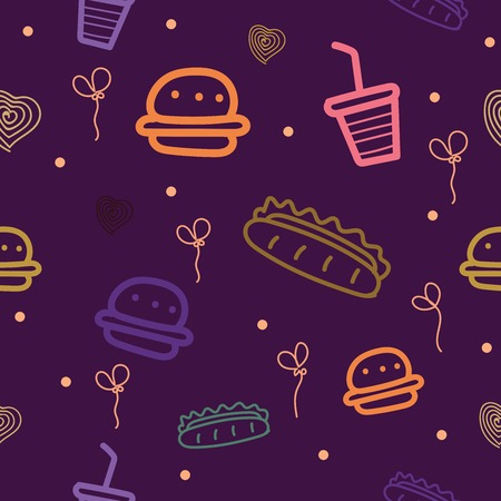Seamless pattern with motifs of fast food, burgers, hot dogs and others