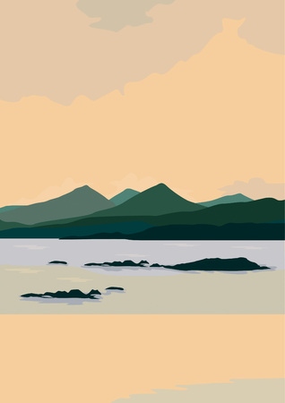 Flat design landscape with a theme of views of mountains and oceans
