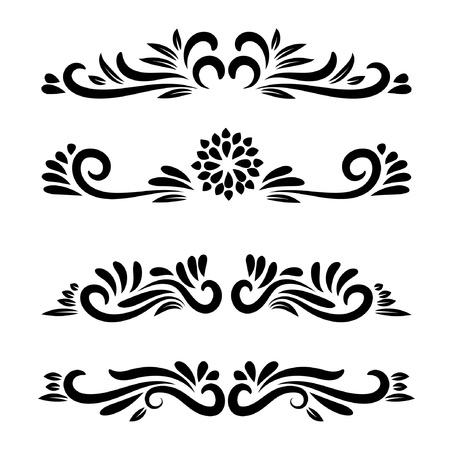 Vector element floral motifs. Floral ornamental. Vector line art flower ornamental