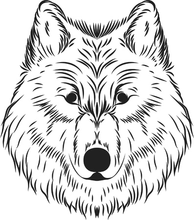 Line art design with the theme of the wolf image. Line art of wolf head Stock Illustratie