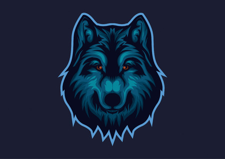 E-sports logo with the basic theme of wolves. Wolf head esport logo template