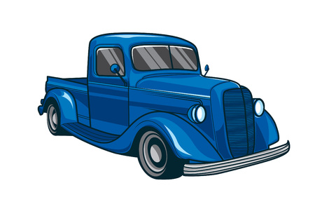 Blue classic truck car vector illustration Illustration