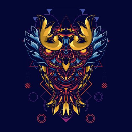 Illustration of owls with mandala ornaments. With background sacred geometry. Has a combination of gold and blue lights Illustration