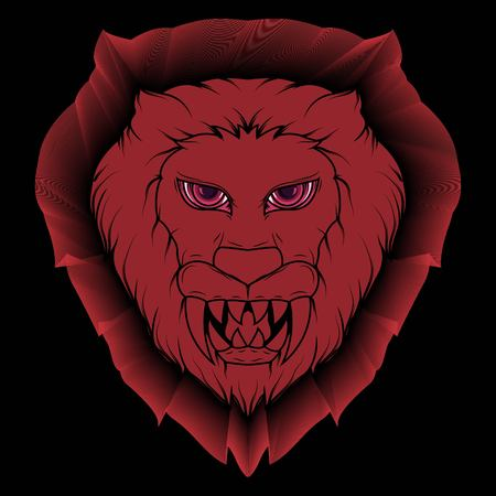 Illustration of a creepy lion head demon with bright red and sharp fangs Ilustração