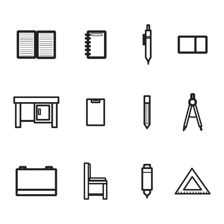 Icon set with the theme of school equipment. With various kinds of school equipment, such as notebooks, pencils, study tables, rulers, chairs and others Stock Illustratie