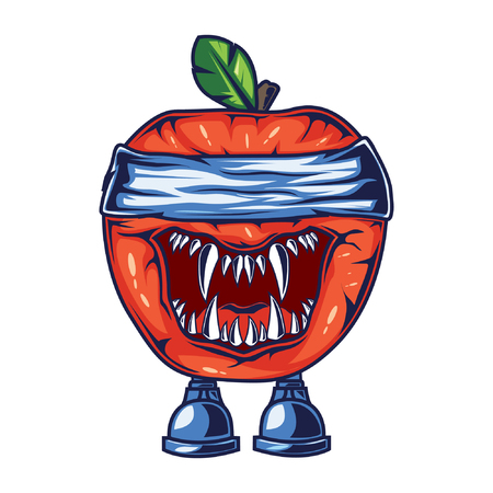 Character design based on apples. with a spooky and unique style and good colors