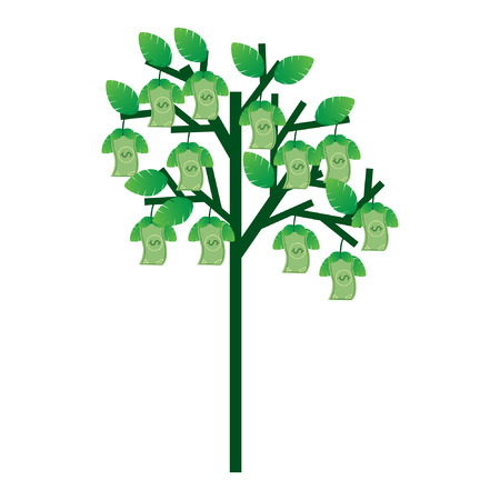 Illustration of trees that bear money. describe financially well-established Illustration