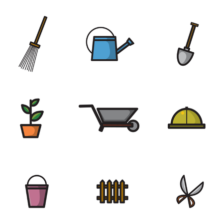 Icon set with the theme of various tools needed for gardening. With various types of illustrations of gardening equipment, such as shovels, lawn mowers, garden strollers and others