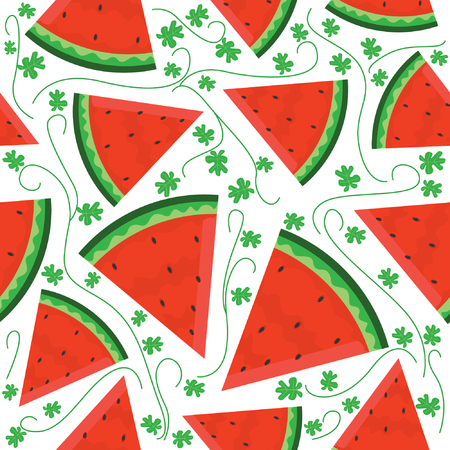 Seamless pattern with watermelon slices motif with very beautiful color