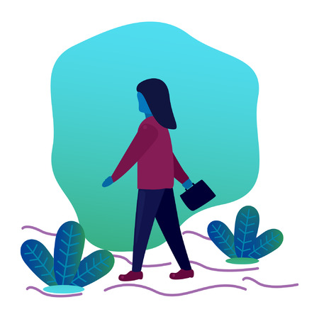 Flat design that describes a woman who is walking towards her workplace