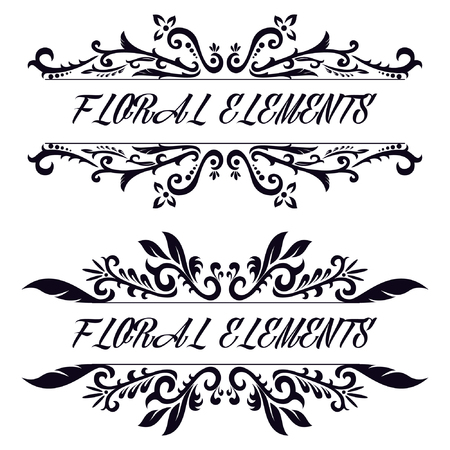 Vintage decorative floral decorative. Hand drawn vector design elements Çizim