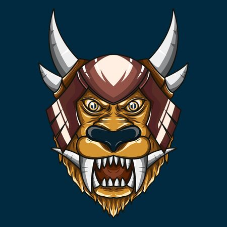 Mythical Lion demon head illustration. Detailed vector art of a horned mythological lion head Stock Illustratie