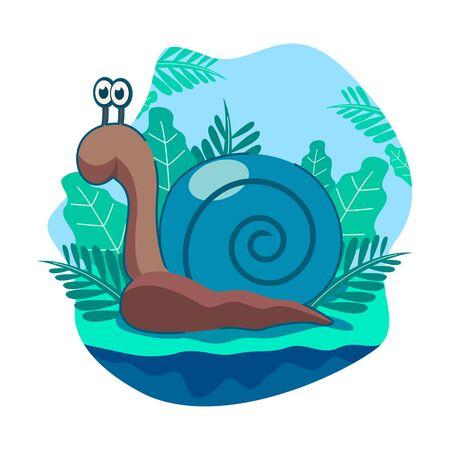 Illustration vectorielle d'escargots bleus mignons avec le fond des feuilles et un ciel clair