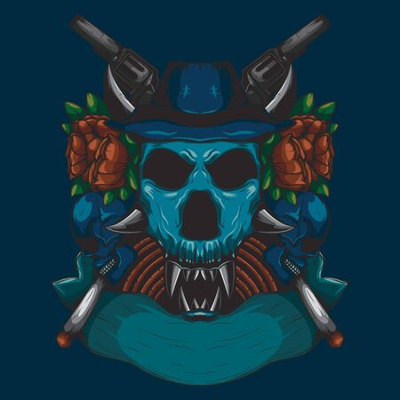 Detailed color Illustration of a hunter head skull with a red rose ornament and a gun