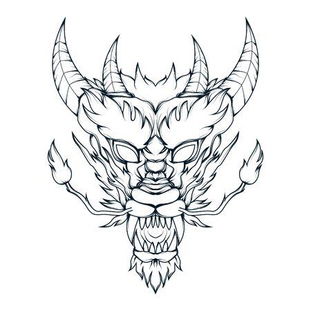 Vector line art of mythical dragon head. Detailed illustration of a horned mythological dragon head