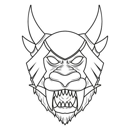 Illustration d'art de ligne de tête de démon de lion mythique. Art vectoriel détaillé d'une tête de lion mythologique à cornes Vecteurs
