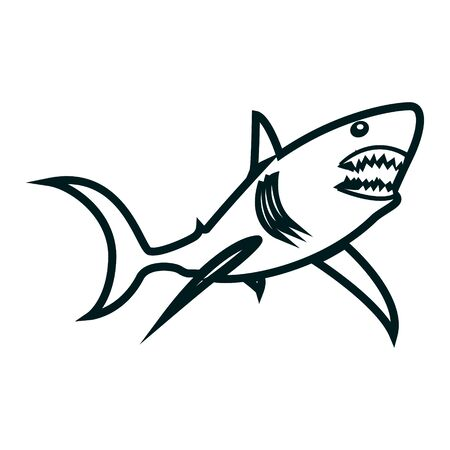 Shark line art vector illustration. Shark simple outline design. Black outline vector design with shark theme Vettoriali