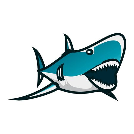 Shark vector illustration. Shark minimalist vector design with white background. Minimalist vector design with shark theme