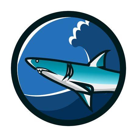Shark circle emblem logo design. Shark icon logo identity. Shark head vector illustration. Emblem vector design with shark theme Illustration