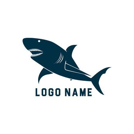 Shark minimalist silhouette logo design. Shark silhouette vector illustration with white background. Simple logo design with shark theme