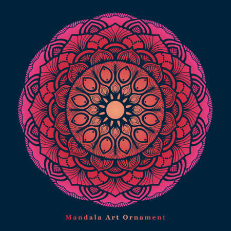floral mandala illustration with beautiful round shapes and color gradient