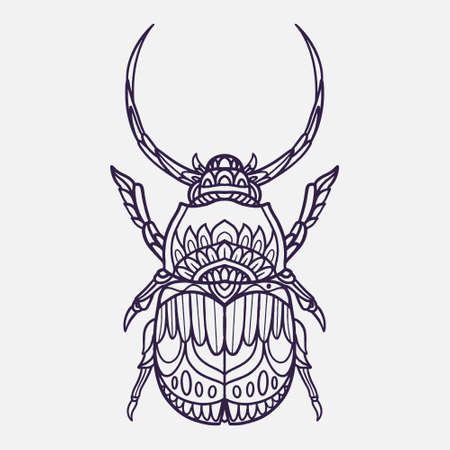 horn beetle vector illustration with ornamental doodle style
