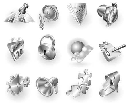 letterbox: A set of silver steel or aluminium shiny glossy metal metallic internet application icon set series.