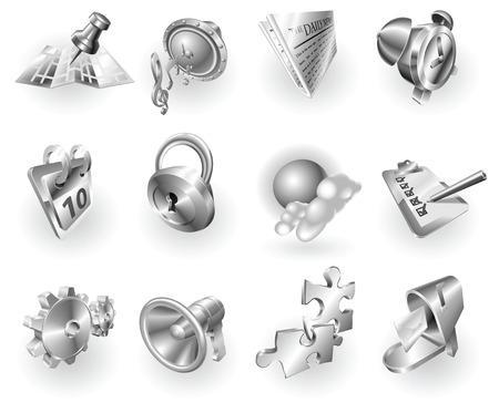 web survey: Un conjunto de plateado acero o aluminio brillante brillante metal met�lico internet icono de aplicaci�n de serie.  Vectores