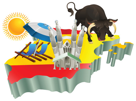 spanish bull: An illustration of some Spanish tourist attractions in Spain.