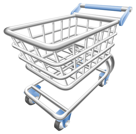 chrome cart: A shiny shopping cart trolley illustration with dynamic perspective.