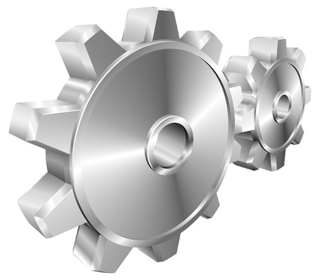 interlocked: A pair of shiny silver steel metallic cog or gear wheels illustration with dynamic perspective.