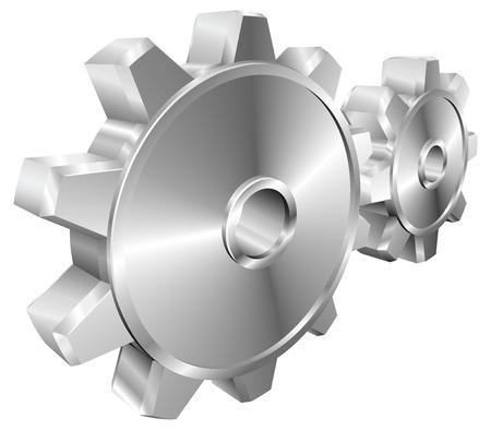cogs: Una coppia di lucido argento acciaio metallizzato cog o ruote dentate illustrazione con prospettiva dinamica.