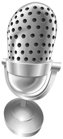 fisheye: A shiny silver steel metallic old style retro microphone illustration with dynamic perspective.