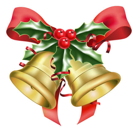 campanas navidad: una ilustraci�n de campanas festivos y arcos, con una ramita de acebo, al tiempo de Navidad