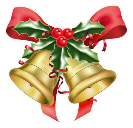 cloches: une illustration de cloches festives et arcs, avec un bouquet de houx, au moment de No�l