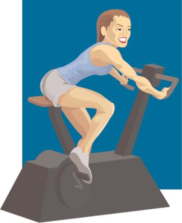 Woman on exercise bike Stock Vector - 663421