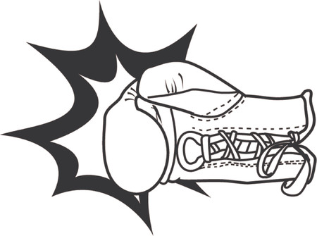 A vector illustration of a boxing glove delivering a punch with the impact of the blow emphasised.