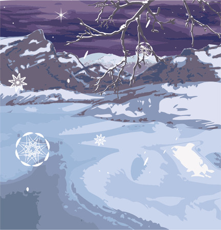 A snowy winter scene, brach and snow flakes on seperate layers so can be removed if wanted. Stock Vector - 663313