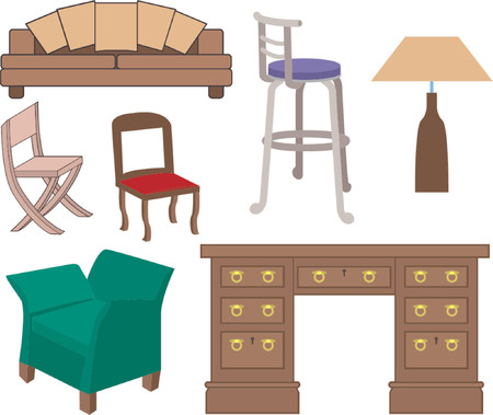 A selection of furniture Stock Vector - 663354