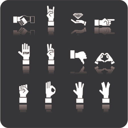 A hand elements icon series set