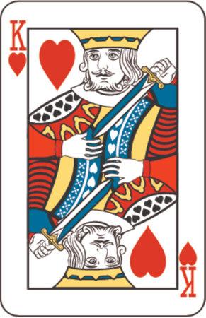 Rey de corazones de baraja de naipes