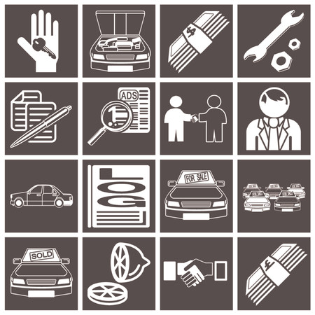iconos o elementos de diseño relacionados con la compra de un coche y los concesionarios vewhicle Ilustración de vector
