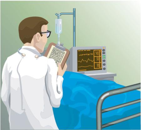 la revisión de un médico de un paciente toma nota  Ilustración de vector