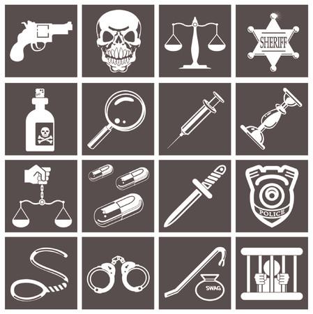 Un conjunto de elementos o iconos de diseño relacionados con la ley, el orden, la policía y la delincuencia. Ilustración de vector