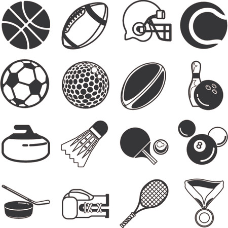 series of icons or design elements relating to sports Illustration