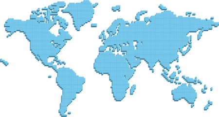 A world map made up of 3d pillars. Bottom layer in vector file is flat squares which can be used instead or in conjunction with 3d parts