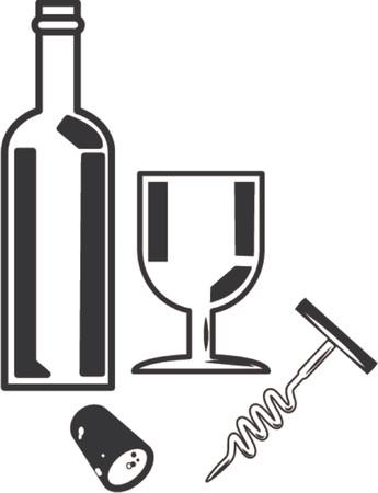 Flasche Wein und Glas Wein. Ein Beispiel für eine Flasche Wein und ein Weinglas.