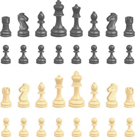 Schaken stuks. Een complete set van schaken stuks. Geen mazen gebruikt.